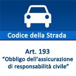 Codice della Strada, articolo 193  Obbligo dell'assicurazione di responsabilità civile